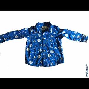 Old Navy Button Up Long Sleeve Blue Sea Life